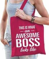 Katoenen cadeau tasje awesome boss fuchsia roze