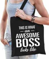 Katoenen cadeau tasje awesome boss zwart