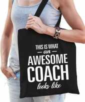 Katoenen cadeau tasje awesome coach zwart