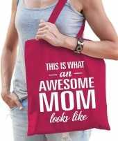 Katoenen cadeau tasje awesome mom fuchsia roze