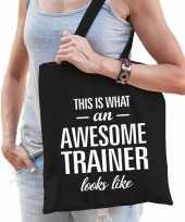 Katoenen cadeau tasje awesome trainer zwart
