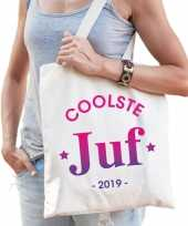 Katoenen cadeau tasje coolste juf 2019