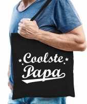 Katoenen cadeau tasje coolste papa zwart