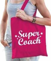 Katoenen cadeau tasje super coach fuchsia roze