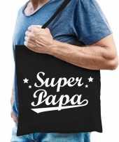 Katoenen cadeau tasje super papa zwart