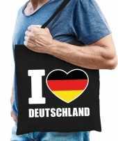 Katoenen duitsland tasje i love deutschland zwart