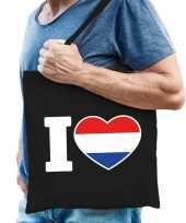 Katoenen holland tasje i love nederland zwart