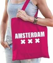 Katoenen holland wereldstad tasje amsterdam roze