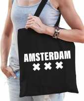 Katoenen holland wereldstad tasje amsterdam zwart