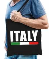 Katoenen italie supporter tasje italy zwart