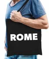 Katoenen italie wereldstad tasje rome zwart