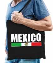 Katoenen mexicaans supporter tasje mexico zwart