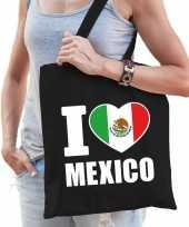 Katoenen mexicaans tasje i love mexico zwart