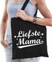 Katoenen moeder cadeau tasje liefste mama zwart