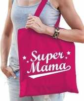 Katoenen moeder cadeau tasje super mama fuchsia roze