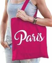 Katoenen parijs wereldstad tasje paris roze