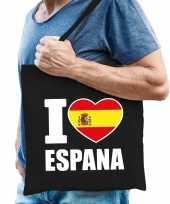 Katoenen spanje tasje i love espana zwart