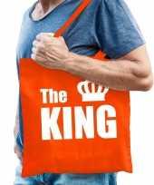 Katoenen tas shopper oranje the king met witte kroon heren