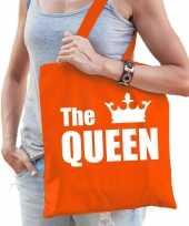 Katoenen tas shopper oranje the queen met witte kroon dames