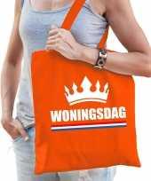 Katoenen tas shopper oranje woningsdag dames
