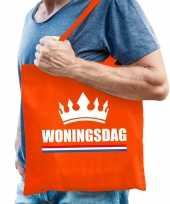 Katoenen tas shopper oranje woningsdag heren
