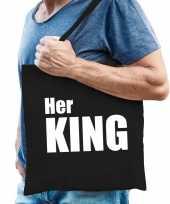 Katoenen tas shopper zwart her king witte letters heren