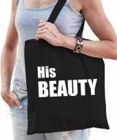 Katoenen tas shopper zwart his beauty witte letters dames