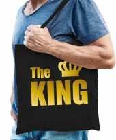 Katoenen tas shopper zwart the king gouden letters heren