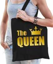 Katoenen tas shopper zwart the queen gouden letters dames