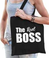 Katoenen tas shopper zwart the real boss witte letters dames