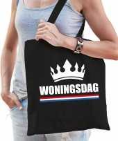 Katoenen tas shopper zwart woningsdag dames