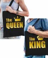 Katoenen tassen zwart met goud the queen the king volwassenen