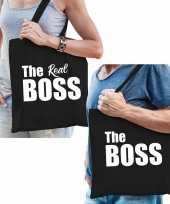 Katoenen tassen zwart the boss en the real boss volwassenen
