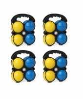 Kleine jeu de boules sets met 16 gekleurde ballen in draagtas