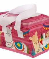 Kleine koeltas lama alpaca print roze 20 5 cm 4 liter