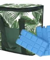 Koeltas bladeren print wit groen 20 liter met 2 koelelementen