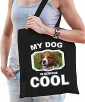 Kooiker honden tasje zwart volwassenen en kinderen my dog serious is cool kado boodschappentasje