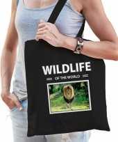 Leeuw tasje zwart volwassenen en kinderen wildlife of the world kado boodschappen tas