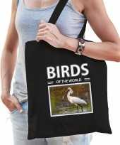 Lepelaar vogel tasje zwart volwassenen en kinderen birds of the world kado boodschappen tas