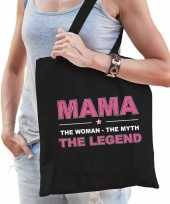 Mama the legend katoenen tas zwart voor dames