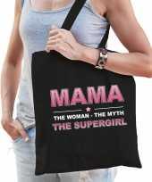 Mama the supergirl cadeau tas zwart voor dames