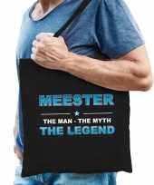 Meester the legend katoenen cadeau tas zwart voor heren