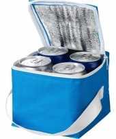 Mini koeltas blauw wit 15 cm voor 4 blikjes 3 liter