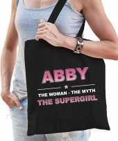 Naam cadeau tas abby the supergirl zwart voor dames