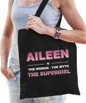 Naam cadeau tas aileen the supergirl zwart voor dames