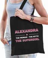 Naam cadeau tas alexandra the supergirl zwart voor dames