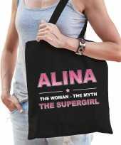 Naam cadeau tas alina the supergirl zwart voor dames