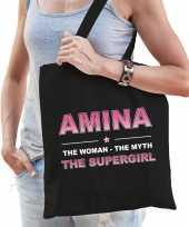 Naam cadeau tas amina the supergirl zwart voor dames