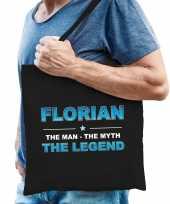 Naam cadeau tas florian the legend zwart voor heren