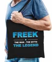 Naam cadeau tas freek the legend zwart voor heren